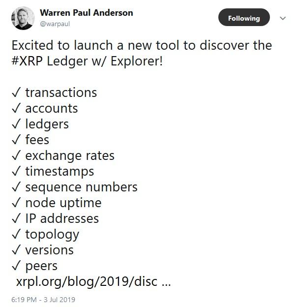 Warren Paul Anderson Tweet about new explorer