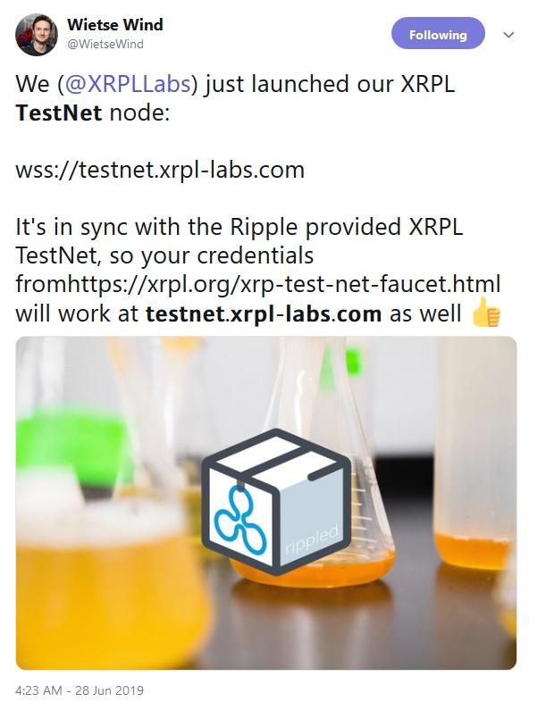 TestNet Validator Tweet from Wietse