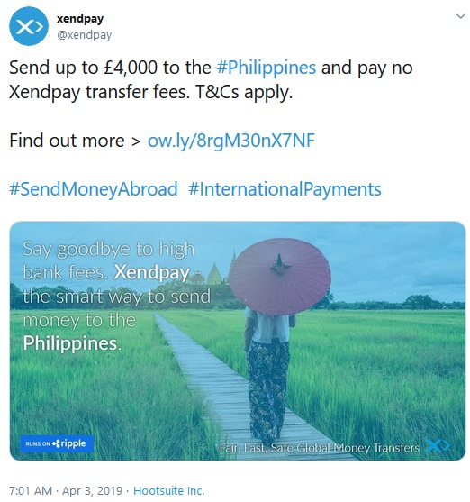 Tweet from Xendpay