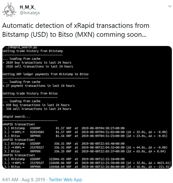 Tweet about xRapid from hmatejx