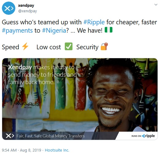 Tweet from Xendpay about Nigeria