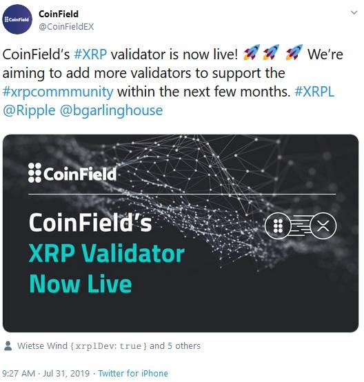 Coinfield Tweet about running validator