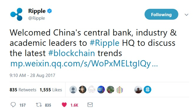 Ripple Central Bank Tweet